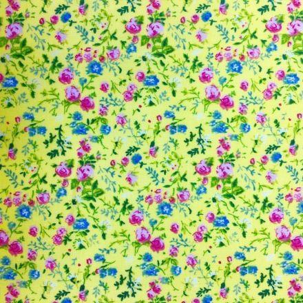 Tissu Coton imprimé Jaune citron Fleurs Roses et bleues - Par 10 cm