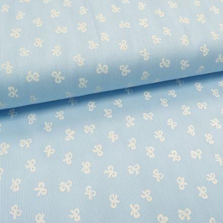 Tissu Piqué de coton Bleu ciel Noeuds Blancs 10 mm - Par 10 cm