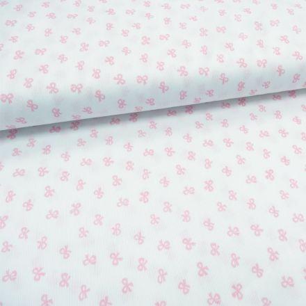 Tissu Piqué de coton Blanc Noeuds Roses 10 mm - Par 10 cm