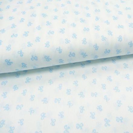 Tissu Piqué de coton Blanc Noeuds Bleu ciel 10 mm - Par 10 cm