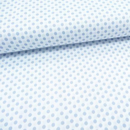 Tissu Piqué de coton Blanc Pois Gris clair 5 mm - Par 10 cm
