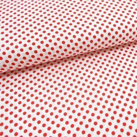 Tissu Piqué de coton Blanc Pois Rouge 5 mm - Par 10 cm