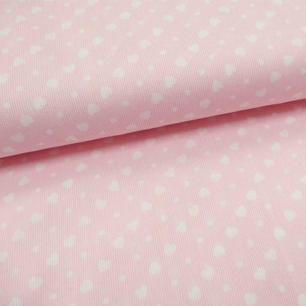 Tissu Piqué de coton Rose clair Coeurs Blancs 6 mm - Par 10 cm
