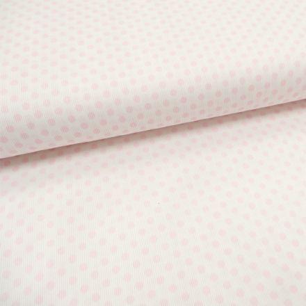 Tissu Piqué de coton Blanc Pois Roses 5 mm - Par 10 cm