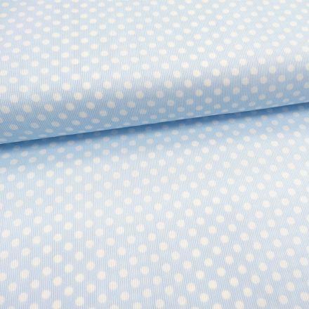 Tissu Piqué de coton Bleu ciel Pois Blancs 5 mm - Par 10 cm