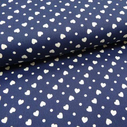 Tissu Piqué de coton Bleu marine Coeurs Blancs 6 mm - Par 10 cm