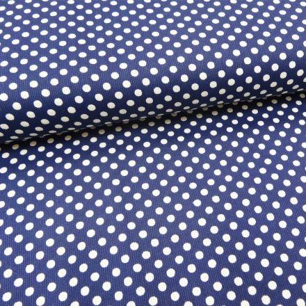 Tissu Piqué de coton Bleu marine Pois Blancs 5 mm - Par 10 cm