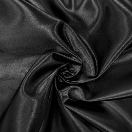 Tissu Doublure Satin Deluxe Noir - Par 10 cm