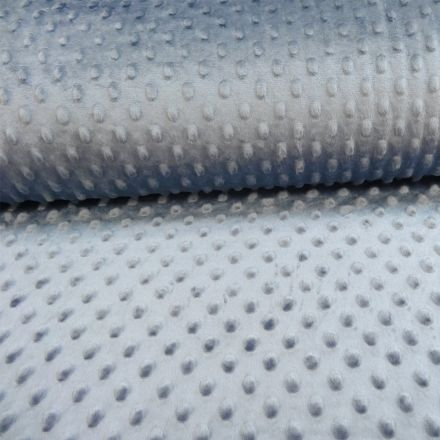Tissu Minky Ultra doux Pois Bleu gris - Par 10 cm