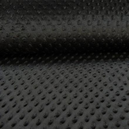Tissu Minky Ultra doux Pois Noir - Par 10 cm