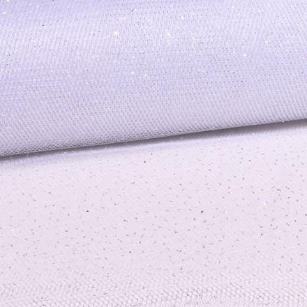 Tissu Tulle Strass Pailettes Blanc - Au mètre