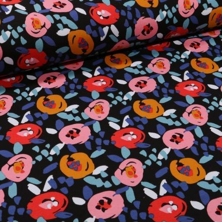Tissu Jersey Coton Fleurs seventies sur fond Bleu marine - Par 10 cm