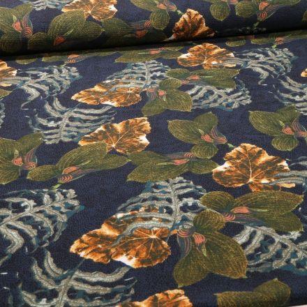 Tissu Crêpe imprimé Feuilles de Miltonia sur fond Bleu marine - Par 10 cm