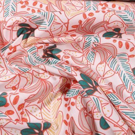 Tissu Coton imprimé Arty Grandes feuilles colorées sur fond Beige - Par 10 cm