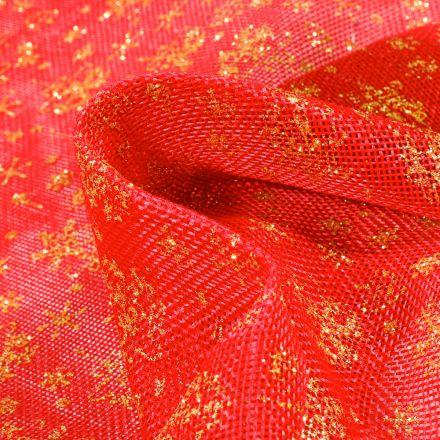 Tissu Toile de jute  Christmas sur fond Rouge - Par 10 cm