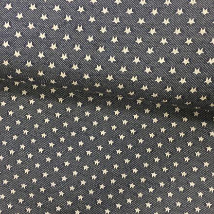 Tissu Sweat Bleu chiné Etoiles Blanches - Par 10 cm