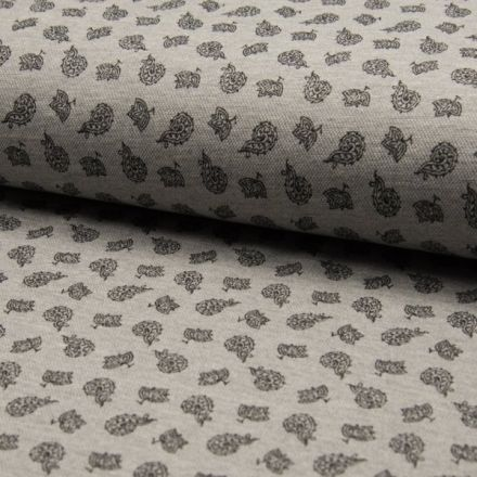 Tissu Jersey Piqué de coton spécial Polo Kashmir sur fond Gris clair - Par 10 cm