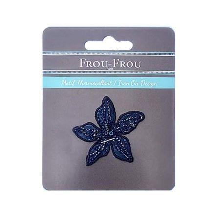 Ecusson Thermocollant Fleur Bleue Brodée