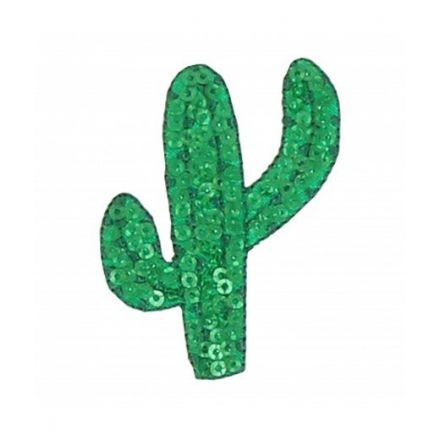 Ecusson Thermocollant cactus en sequins verts sur fond vert