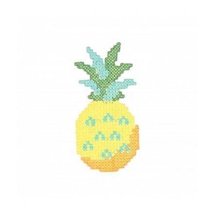 Ecusson Thermocollant Ananas au point de croix Vert bleu jaune et orange