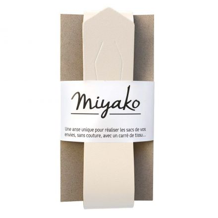 Anse de sac en cuir Miyako Blanc cassé