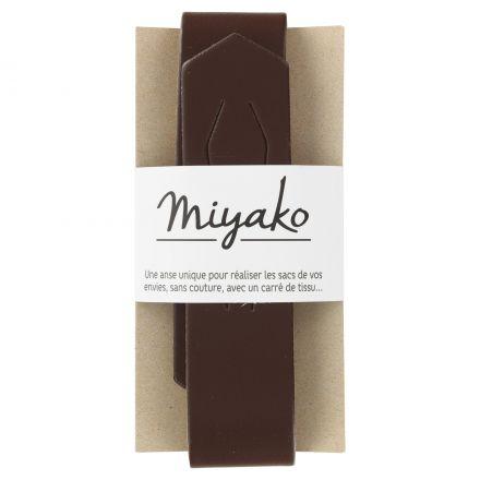 Anse de sac en cuir Miyako Marron chocolat