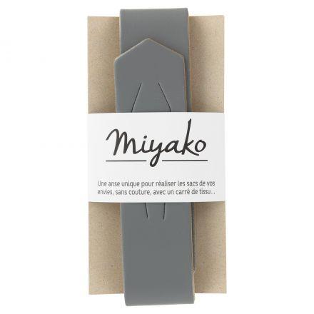 Anse de sac en cuir Miyako Gris acier
