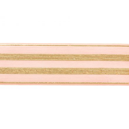 Élastique Plat Lurex Rose rayures or 30 mm x1m