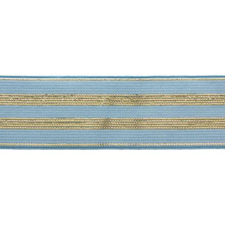 Élastique Plat Lurex Bleu rayures or 30 mm x1m