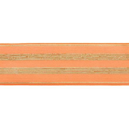 Élastique Plat Lurex Orange rayures or 30 mm x1m