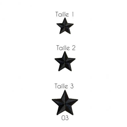Ecusson Thermocollant Etoile Noir et Gris - 3 Tailles