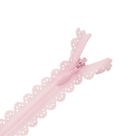 Fermeture invisible Zoé dentelle Rose layette - 2 tailles
