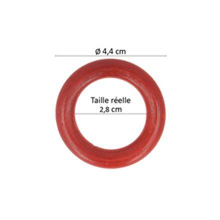 Anneaux de sac en bois Rouge 45 mm - X4