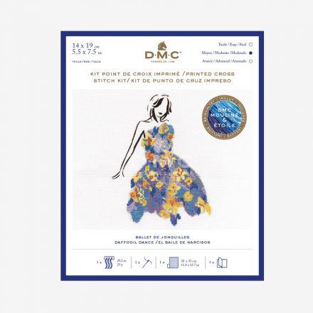 Kit Broderie Point de croix DMC Ballet de Jonquilles 14 x 19 cm