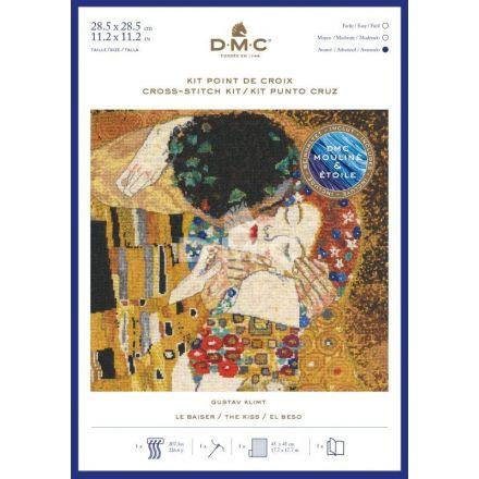 Kit Broderie Point de croix DMC Le Baiser 28,5 x 28,5 cm