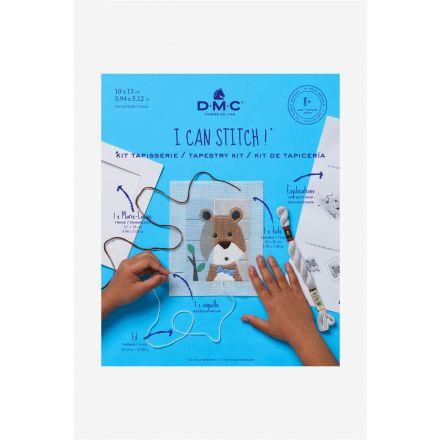 Kit Tapisserie point lancé DMC - Ourson 10x13 cm