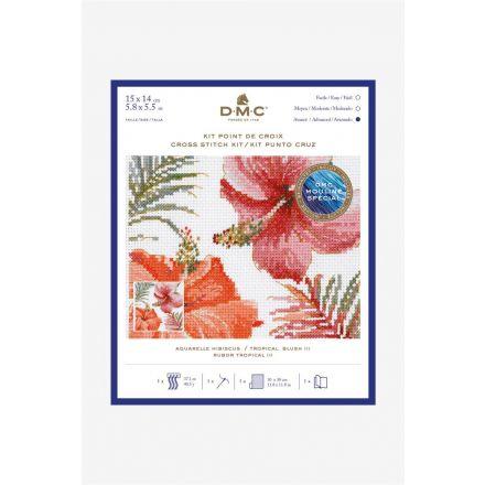 Kit Broderie Point de croix DMC Aquarelle Hibiscus 15 x 14 cm