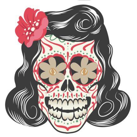 Sticker textile thermo-adhésif  7x7 cm - Tête mexicaine - femme