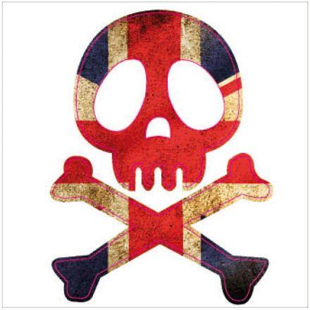 Sticker textile thermo-adhésif  7x7 cm - Tête de mort London