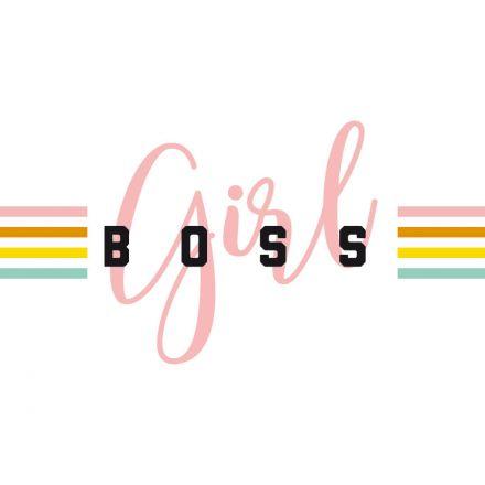 Sticker textile thermo-adhésif  7x7 cm - Girl Boss