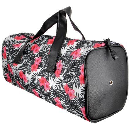 Sac à ouvrage Care & Create style Barrel Bag fleuri - Noir et rose
