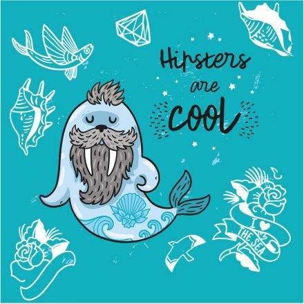 Sticker textile thermo-adhésif  7x7 cm - Hipsters are cool