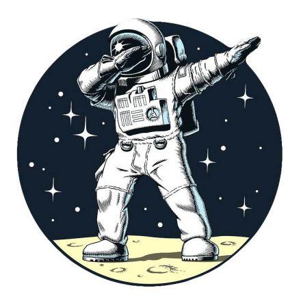Sticker textile thermo-adhésif  7x7 cm - Astronaute qui DAB