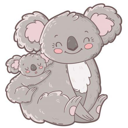 Sticker textile thermo-adhésif  7x7 cm - Famille Koala