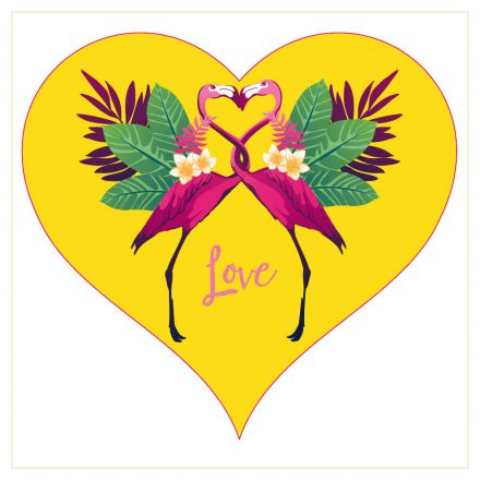 Sticker textile thermo-adhésif  7x7 cm - Flamant rose amour
