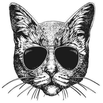 Sticker textile thermo-adhésif  7x7 cm - Chat à lunette