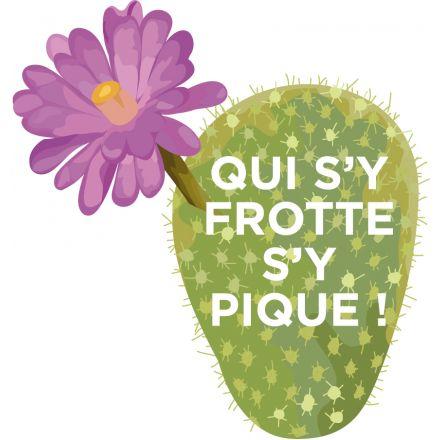 Sticker textile thermo-adhésif  7x7 cm - Cactus Qui s'y frotte s'y pique !
