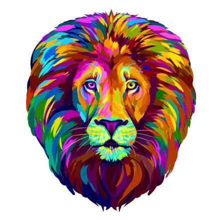Sticker textile thermo-adhésif  7x7 cm - Lion multicolor