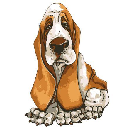 Sticker textile thermo-adhésif  9x15 cm - Dessin chien Basset Hound