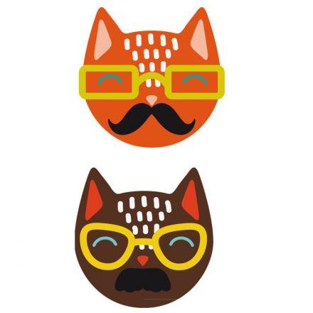 Sticker textile thermo-adhésif  9x15 cm - Dessin chat à lunette
